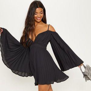 PRETTY LITTLE THING PLEATED OPEN SHOULDER DRESS